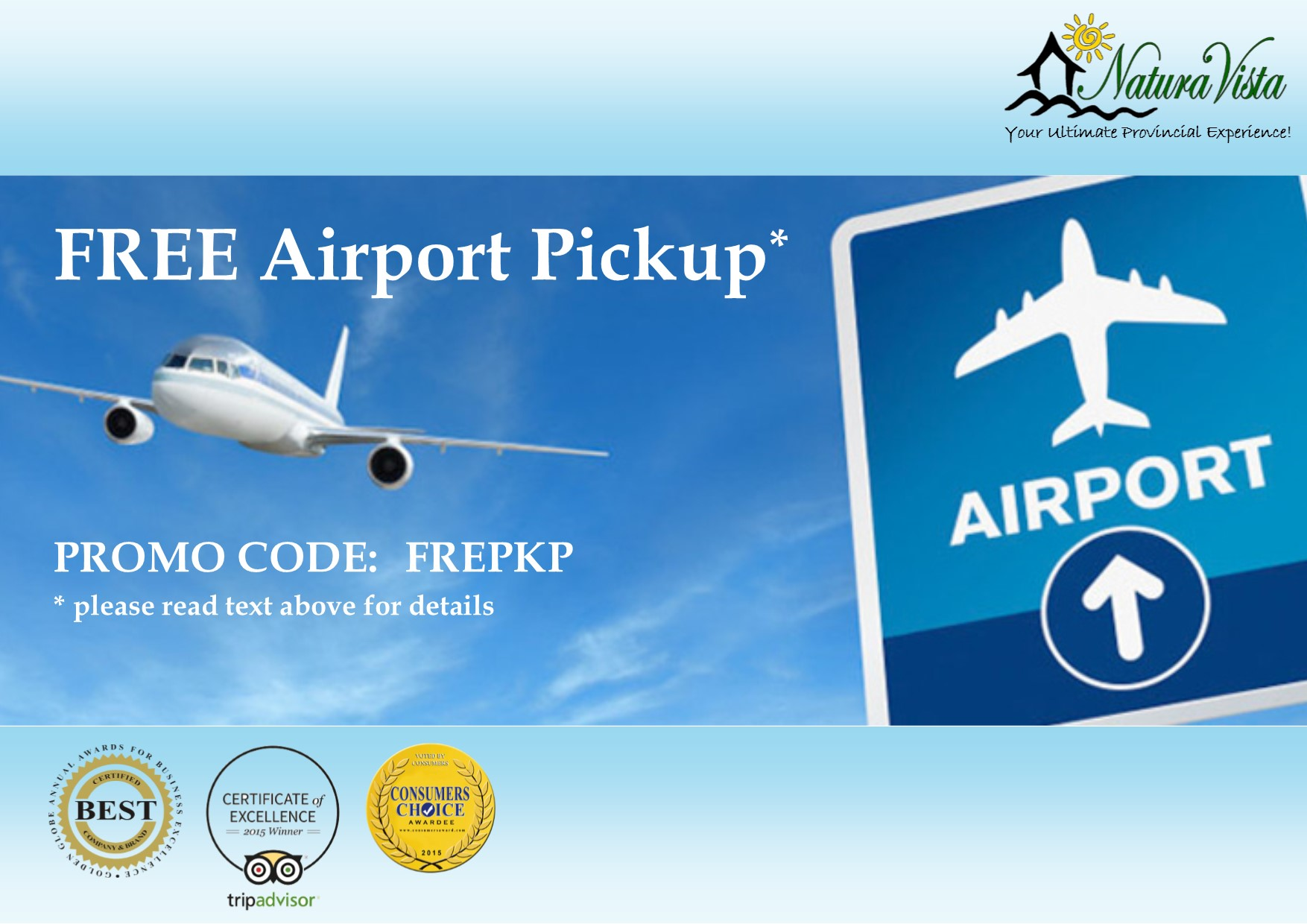 Promo Code for FREE Airport pickup